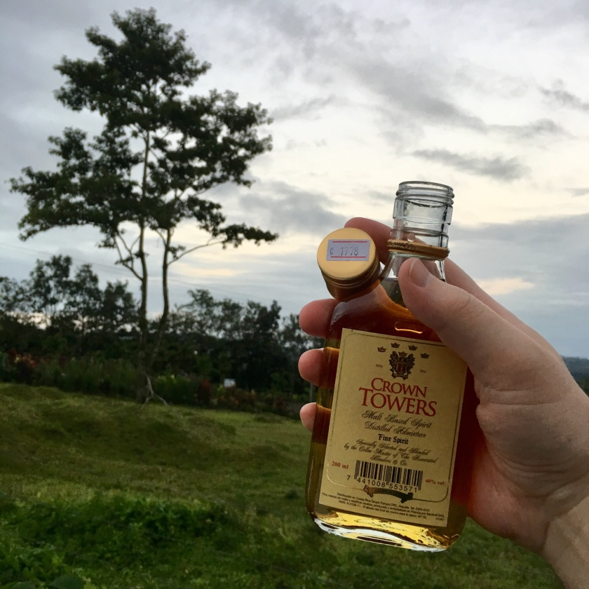 A hand holds a half-pint bottle of Crown Towers whisky, holding the loose cap so as to show the price: 1,778 colones (about three U.S. dollars). In the background, the beautiful Costa Rica countryside stretches forth.