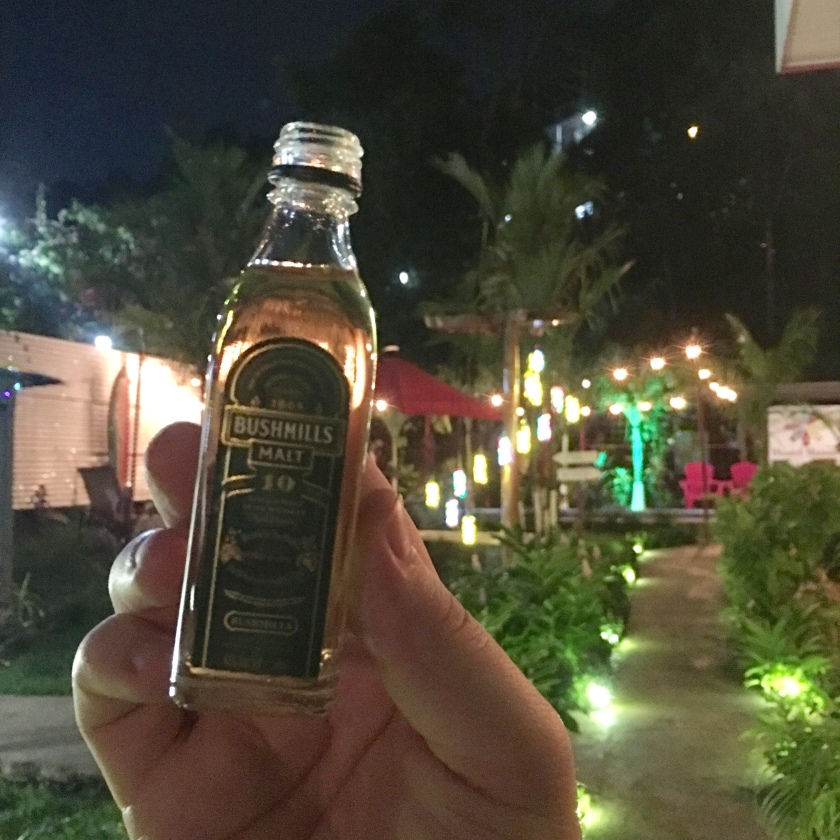 A hand holds a mini-bottle of Bushmills 10-year-old single-malt Irish whisky. In the background, a pool, Christmas lights, and a palm tree bedecked with Christmas lights.